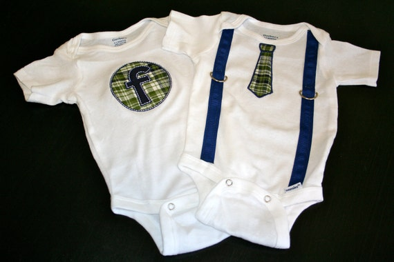 Baby Boy Two Bodysuit Gift Set - Tie/Suspenders and Appliqued Initial - Hunter Green and Navy Plaid