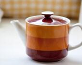 Cute Brown, Orange and White Striped Porcelain Tea Pot