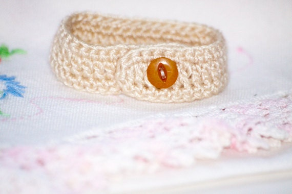 Hand crocheted bracelet with button closure
