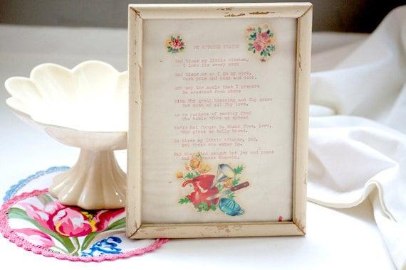 Vintage framed poem for Kitchen with vintage stickers