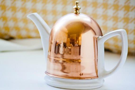 Vintage Porcelain Tea Pot With Copper Cozy Cover Made in Korea