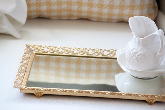 Vintage Vanity Mirror Tray With Easel