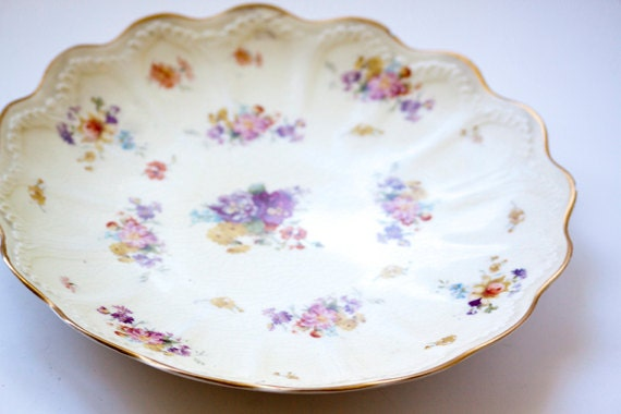 Vintage Decorative Platter With Gold Edge, Embossed Design and Floral Cluster Shabby Chic