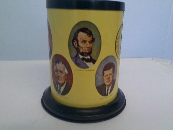 Vintage USA Presidents Metal Pencil & Pen Holder