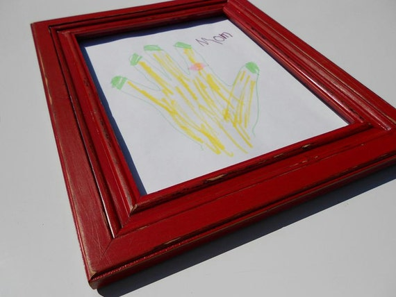 Fridge Magnet Hand Painted Wood Frame Red