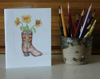 Sunflower Cowboy Boot Greeting Card