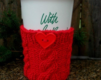 Cozy Knit Coffee / Drink Cup sleeve - Heart Red