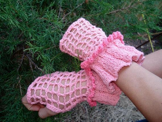 Fingerless Gloves  hand knit /crochet
