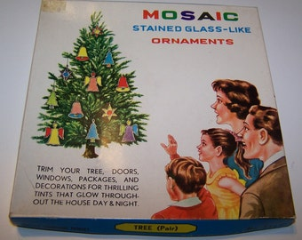 Christmas Ornament Of Two Christmas Trees (Plastic Stained Glass Look) Still In Original Box