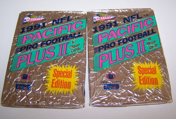 Vintage Pacific Plus II Football Trading Cards Sealed In Wax Paper Set of Two Packs 1991 By Pacific