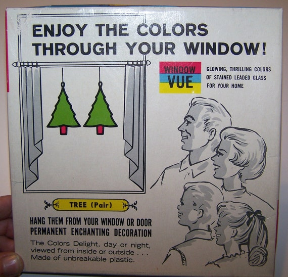 Christmas Ornament By Window Vue Of Two Christmas Trees (Plastic Stained Glass Look) Still In Original Box