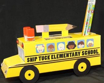 School Supply Bus  Printable Pattern