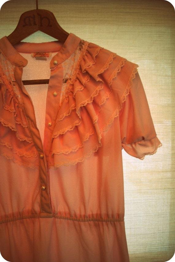 S A L E: 1980s Pale Pink Ruffle Dress
