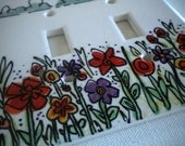 Field of Flowers Ceramic Double Switchplate Cover