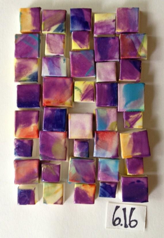 small purple multi square mosaic tiles