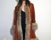 SALE Vtg 1960s/1970s Shearling Coat Incredibly Cool Almost Famous Orange-Red Suede Rock Star Groupie Girl Sheep Lamb Fur