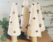 HOLIDAY SALE Primitive Holiday Burlap Christmas Tree with Rusty Jingle Bells and Vintage Spool Trunk