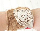 Vintage Fabric Wrist Cuff Textile Bracelet Salvaged Upcycled Lace in Floral Brown and Jadeite