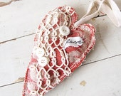Red Heart Primitive Shabby Chic Hanging Heart of Belgian Linen and Vintage Lace, July 4th, Summer Picnic Wedding, I Love You, French Cottage