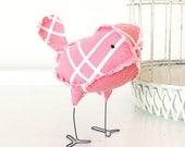 Priscilla - Pink and White Vintage Baby Nursery Decor Fabric Bird, Wedding Cake Topper, Soft Sculpture Textile Home Decor, Baby Shower Gift