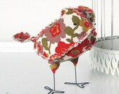 Vera the Soft Sculpture Textile Fabric Bird Softie in Retro Gold Plum Green and Red Floral Vintage Fabric