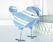 Milton - Nautical Blue and White Wedding Cake Topper Love Bird, Soft Sculpture Textile Home Decor, Baby Nursery Decor
