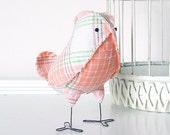 Edwin - Fabric Bird in Vintage Peach Orange Green Plaid, Fall Wedding Cake Topper Love Bird, Baby Boy Nursery - Made to Order