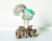 Woodland Vintage Textile Mushroom Fungi Cluster with Moss Fabric Soft Sculpture in Tan Brown Aqua Chartreuse, Nursery Baby Photo Prop