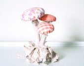 Woodland Vintage Textile Mushroom Fungi Cluster with Moss Fabric Soft Sculpture in Tan Tangerine Pink Yellow Mint, Nursery Baby Photo Prop