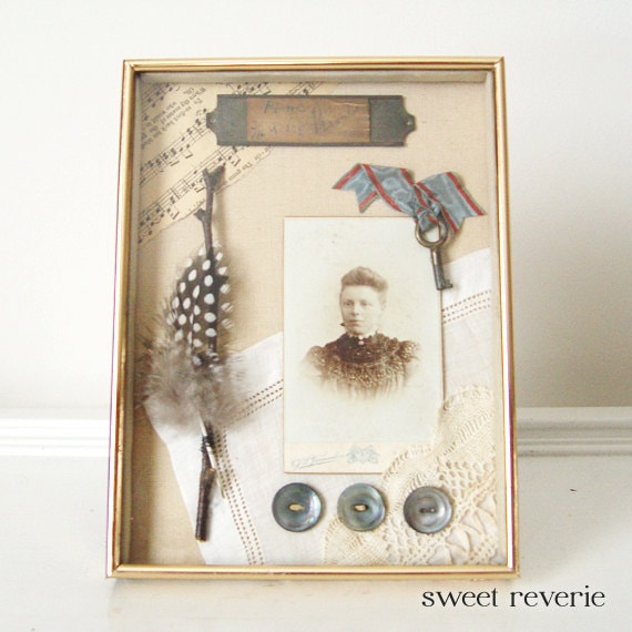OOAK Vintage and Antique Found Objects Collage Assemblage in Gold Shadow Box Frame