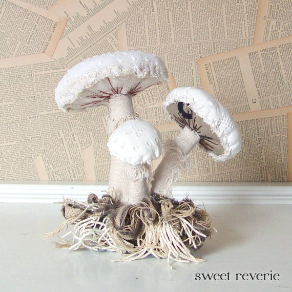Woodland Vintage Textile Mushroom Cluster with Moss Fabric Soft Sculpture Art in White and Green Neutrals