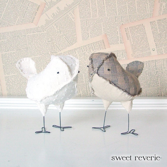 Rustic Country Vintage Neutral Tan and Ivory Wedding Cake Toppers Love Birds, Soft Sculpture Textile Home Decor, Wedding Gift