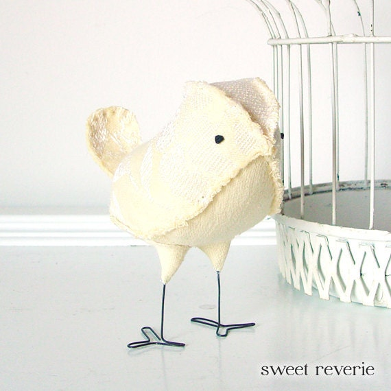 Sebastian - Fabric Bird in Vintage Soft Pastel Yellow, Spring Wedding Cake Topper Love Bird, Baby Boy Girl Nursery Decor - Made to Order
