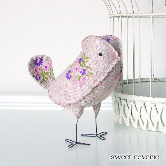 Amelia - Fabric Bird in Vintage Mauve Pink Lavender Floral, Wedding Cake Topper Love Bird, Baby Girl Nursery Decor - Made to Order