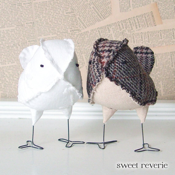 Wedding Cake Toppers Rustic Country Vintage Neutral Brown Tweed and White Love Birds, Soft Sculpture Textile Home Decor, Made to Order