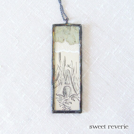 Woodland Ephemera with Lichen Lace and Typographic Initial A Soldered Pendant Necklace