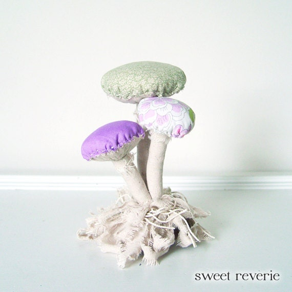 HOLD until 6-15 for PG - Woodland Vintage Textile Mushroom Fungi Cluster with Moss Fabric Soft Sculpture in Tan Purple Lavender Mint