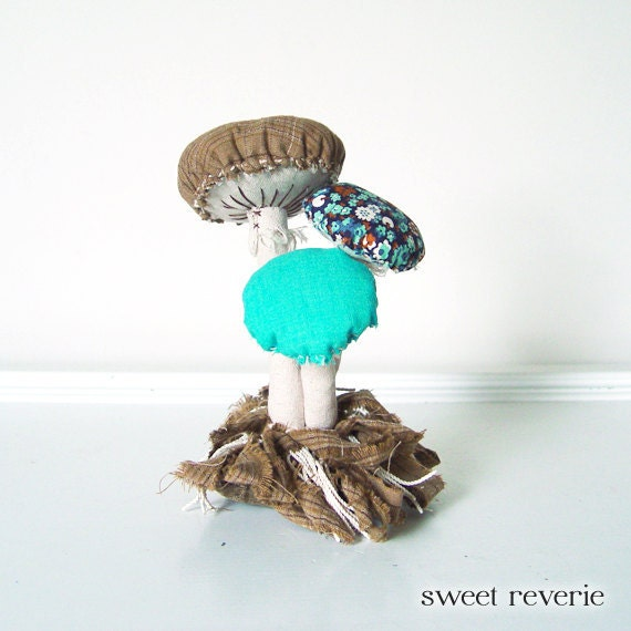 Woodland Vintage Textile Mushroom Fungi Cluster with Moss Fabric Soft Sculpture in Tan Navy Aqua Turquoise Brown, Nursery Newborn Photo Prop