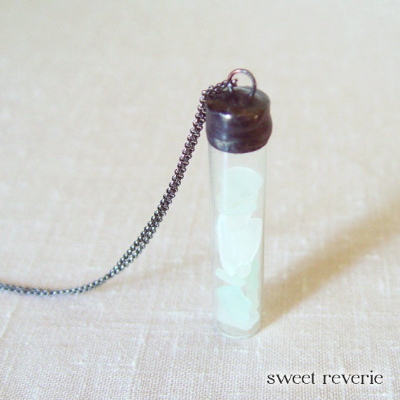Frosted Mint Green Blue Mist Seafoam Sea Glass Nautical Vial Necklace with Real Authentic Beach Glass, Boho Summer Jewelry