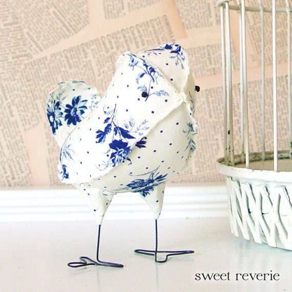 Adelaide fabric bird in vintage blue and creamy white delft for Home decorations adelaide