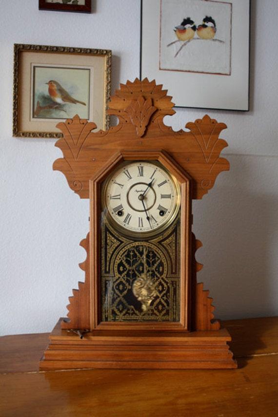 This item is RESERVED  for artandhealthnut   ANTIQUE GINGERBREAD Ingraham Mantle Clock