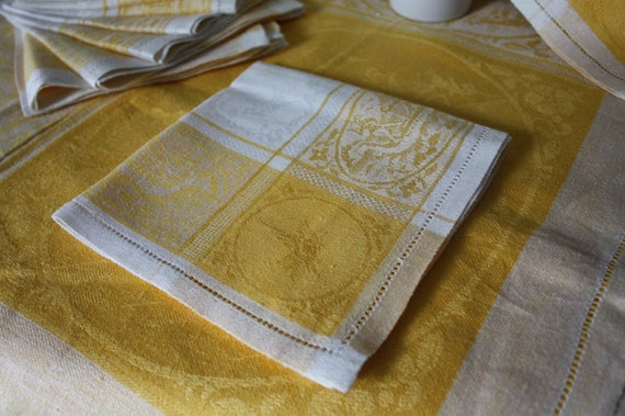 Vintage Sunny Yellow DAMASK LINEN Luncheon Set