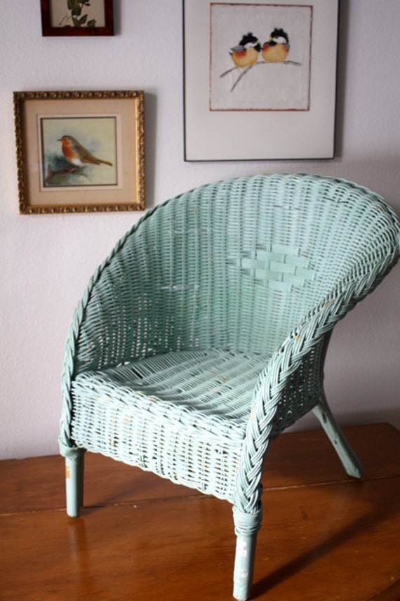CHILDRENS Vintage Robins Egg Blue WICKER  CHAIR