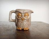 Vintage 70's Sleepy Owl Coffee Creamer Mug Handpainted