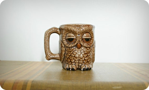 Vintage 70's Glossy Sleepy Owl Coffee Mug Handpainted