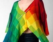 Rainbow Cardigan handknitted in pima cotton in a myriad of rainbow hues