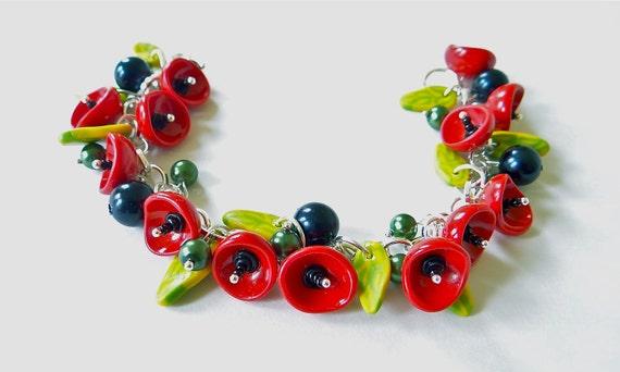 Red Poppy Flower Bracelet, Poppy Bracelet, Summer Jewelry, Poppy Flower.