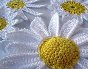 Crochet Flowers PATTERN-Daisy Flowers-DIY Crafts-Spring Crochet Flower Applique-3d Flowers-Big Flowers-Instant Download PDF Pattern No.22
