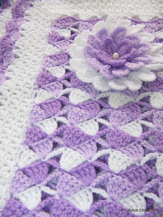 CROCHET PATTERN Baby Blanket, Beautiful Lilac Baby Blanket With Flower, Instant Digital Download Lyubava Crochet Pattern PDF No.23