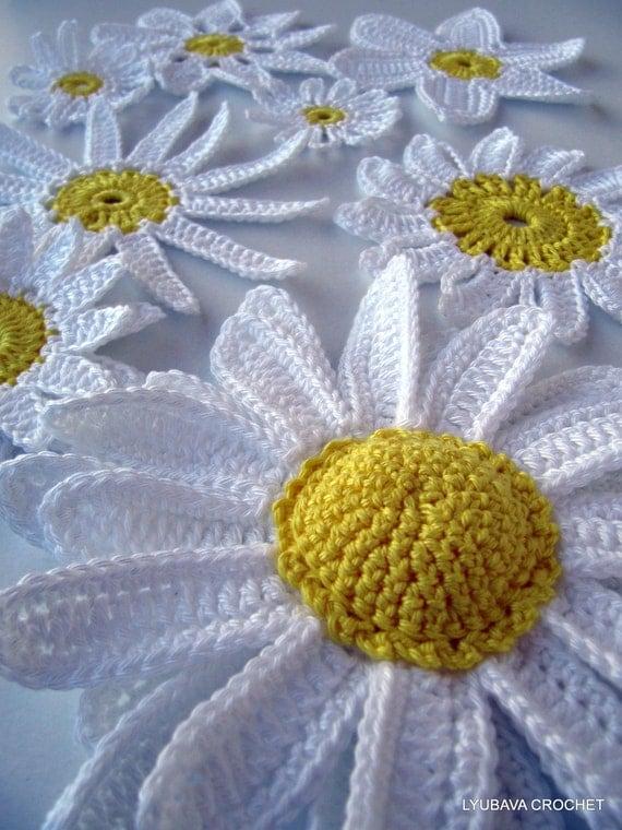 CROCHET FLOWERS PATTERN, Daisy Flowers, Chamomile, Crochet Daisy, Diy Craft Crochet Flowers, Instant Download Pdf Pattern No.22